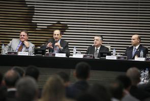 Da esq. p/ dir.: Geddel Vieira Lima, Paulo Skaf, Milton Bogus, José Henrique Toledo Correa Foto: Everton Amaro