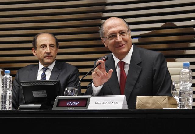 Congresso de Radiodifusão na Fiesp. Paulo Skaf e Geraldo Alckmin. Foto: Junior Ruiz