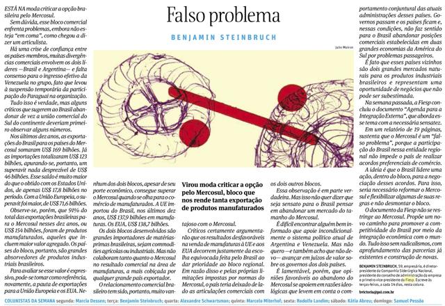 Artigo Steinbruch na Folha de S. Paulo