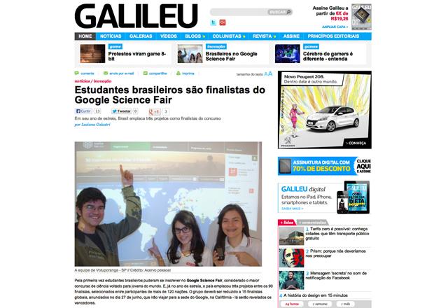 Alunos do Sesi Votuporanga foram destacados em reportagem do site da revista Galileu. Foto: Reprodução Site