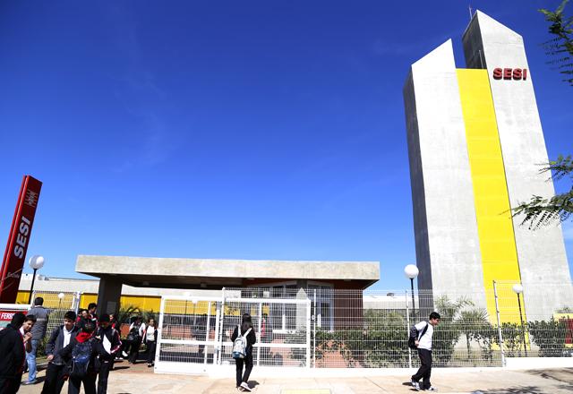 Nova escola do Sesi-SP em Porto Ferreira: 20,3 mil m² de área. Foto: Julia Moraes/Fiesp