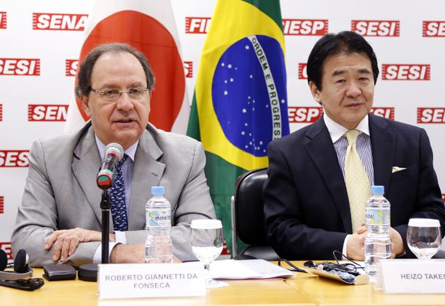 Gianetti, à esquerda, e Takenaka: parceria mais ampla entre Brasil e Japão. Foto: Tâmna Waqued/Fiesp