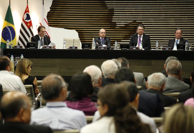 O painel sobre o aumento da competitividade no Pólo de Cubatão. Foto: Beto Moussalli/Fiesp