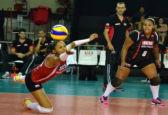 Dayse, um dos destaques do vôlei feminino do Sesi-SP. Foto: Lucas Dantas/Fiesp