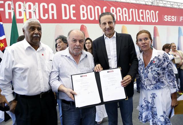 Skaf em Sertãozinho: foco na educação e no esporte com o apoio da rede Sesi-SP. Foto: Tâmna Waqued/Fiesp