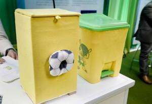 A Eco lixeira de resíduos têxteis: inovação e sustentabilidade. Foto: Tâmna Waqued/Fiesp