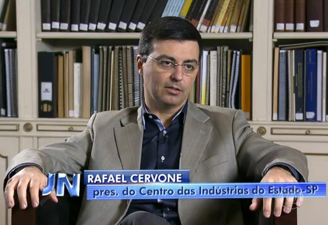 Cervone em entrevista ao Jornal Nacional: fazendo mais com menos. Foto: Reprodução TV
