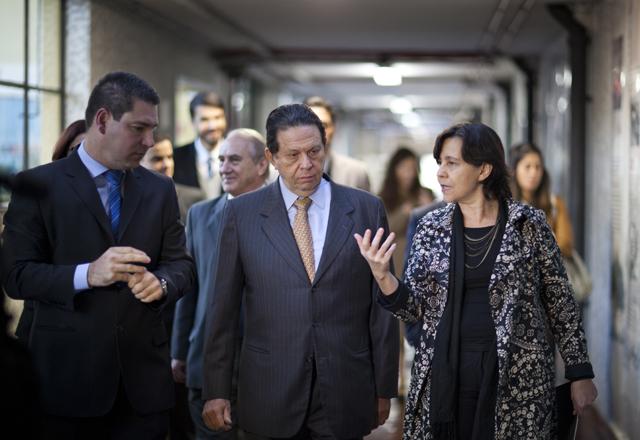 A partir da esquerda: Rocha, Ometto e Tereza: Senai-SP é referência em integração com o mercado. Foto: Everton Amaro/Fiesp