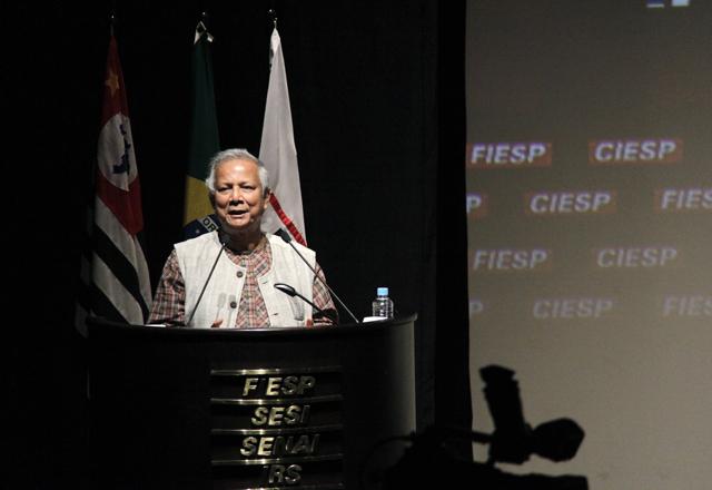 Yunus: sucesso na reunião extraordinária do Comitê de Jovens Empreendedores. Foto: Junior Ruiz/Fiesp