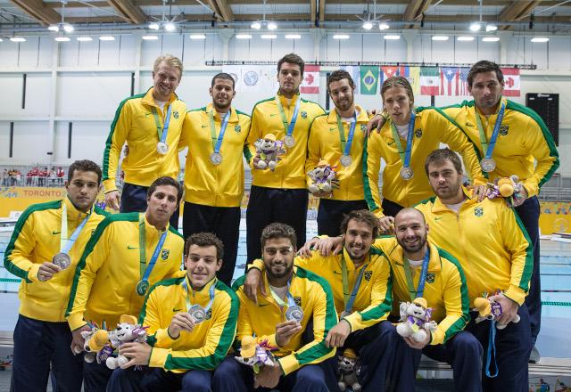 Seleção brasileira de polo aquático leva prata na disputa com os Estados Unidos. Foto: Divulgação/Fiesp