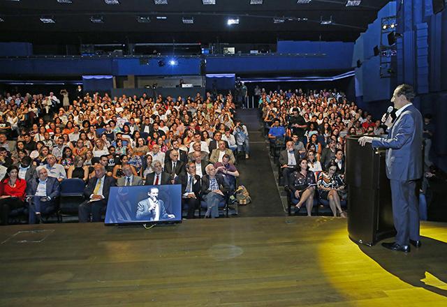 Skaf fala antes da aula inaugural da Faculdade Sesi-SP de Educação. Foto: Ayrton Vignola/Fiesp
