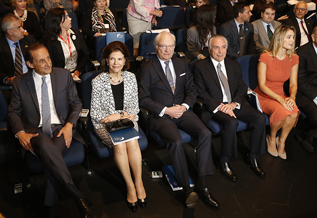 Skaf com a rainha Silvia, o rei Carl XVI Gustav, o presidente Michel Temer e Marcela Temer durante o Global Child Forum. Foto: Helcio Nagamine/Fiesp